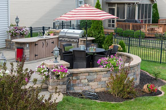 Landscaping in Colorado Springs, retaining wall and patio
